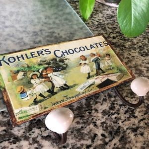 Kohler's Chocolates farmhouse metal art coat hook